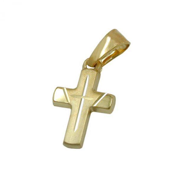 Anhänger, Kreuz diamantiert, 14Kt GOLD