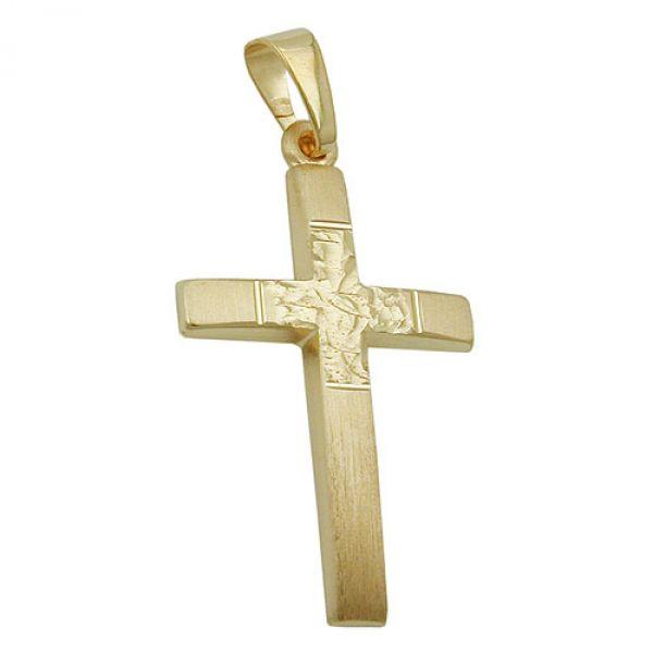 Anhänger, Kreuz diamantiert, 9Kt GOLD