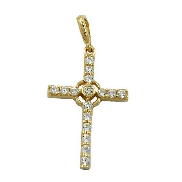 Anhänger, Kreuz mit Zirkonias, 9Kt GOLD