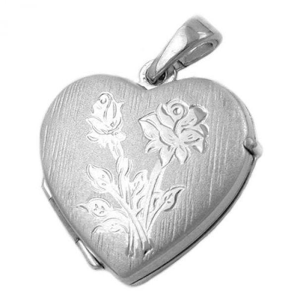Anhänger, Medaillon Herz, Silber 925