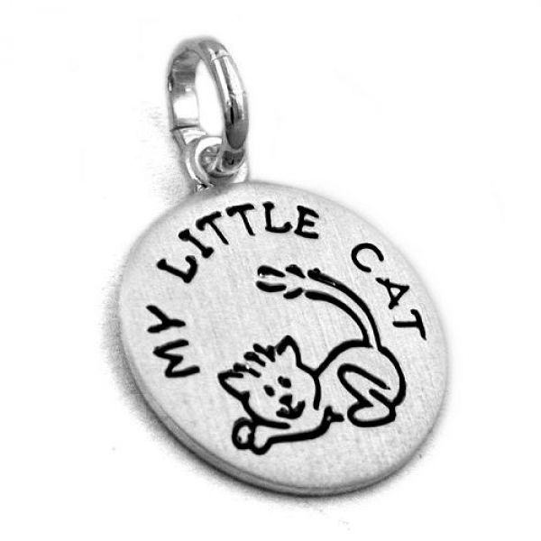 Anhänger, mit Katze schwarz, Silber 925