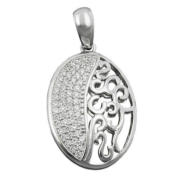 Anhänger, oval mit Zirkonias, Silber 925