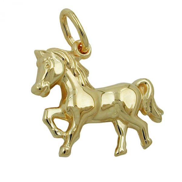 Anhänger, Pferd glänzend, 9Kt GOLD
