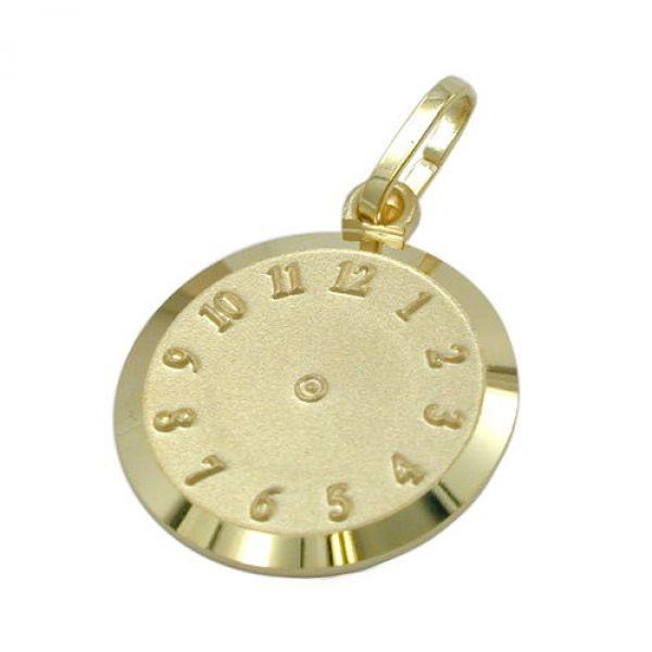 Anhänger, Uhr Geburtsanhänger, 9Kt GOLD