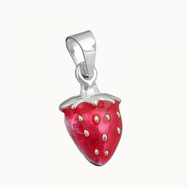Anhänger, wie eine Erdbeere, Silber 925