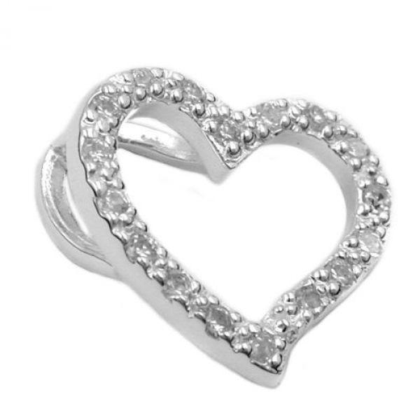 Anhänger, Zirkonia-Herz, Silber 925