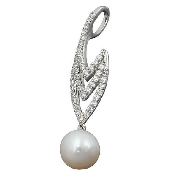 Anhänger, Zirkonia und Perle, Silber 925