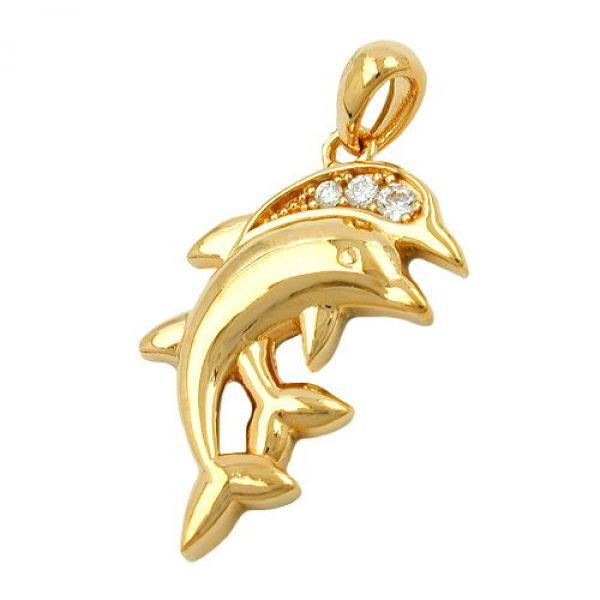 Anhänger Delfinpaar vergoldet 3 Micron