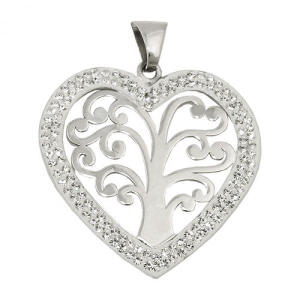 Anhänger Herz mit Lebensbaum, Silber 925