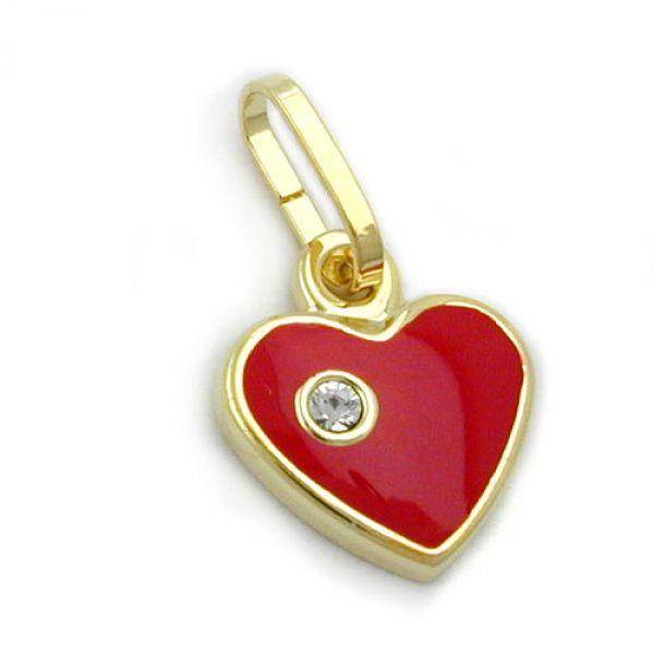 Anhänger Herz rot mit Zirkonia, 9Kt GOLD