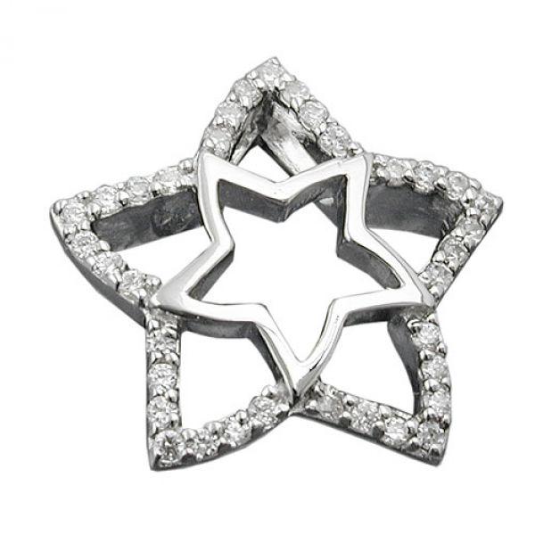 Anhänger Stern mit Zirkonias, Silber 925
