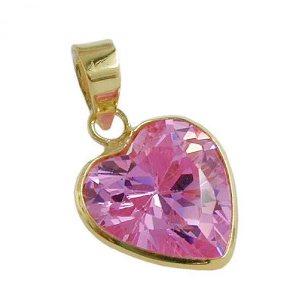 Anhänger, Zirkonia-Herz pink, 9 Karat Gold