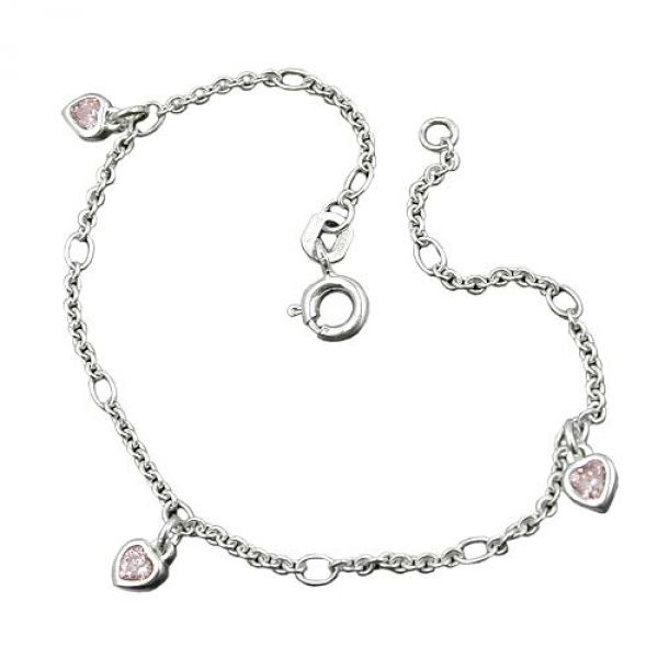 Armband, Herz, Zirkonia pink, Silber 925 16cm