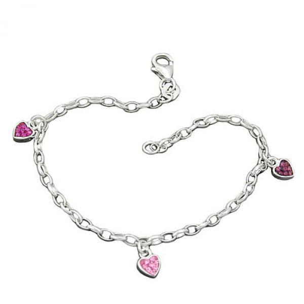Armband, Herz rosa-pink, Silber 925 16cm