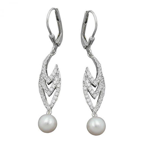 Brisur, Perle und Zirkonia, Silber 925