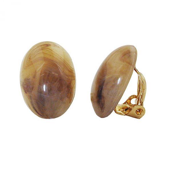 Clip, mini, oval, horn-braun-marmoriert