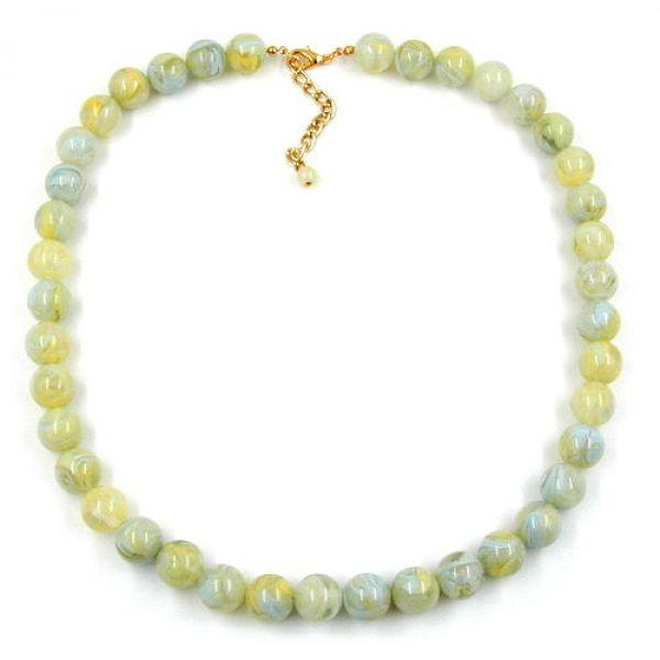 Collier, 12mm Perlen, türkis-grün-gelb 50cm