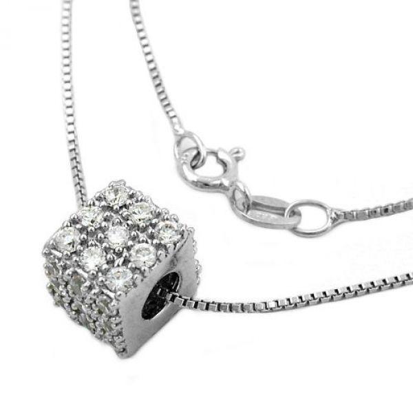 Collier, Anhänger, rhodiniert Silber 925