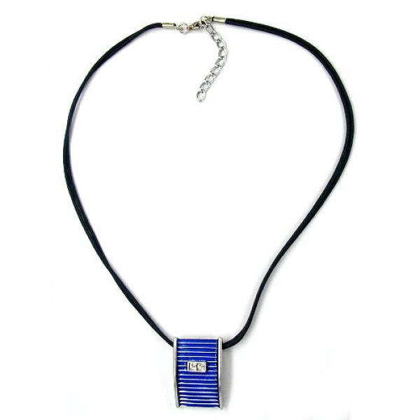 Collier, blau-silber kristall, Email 45cm
