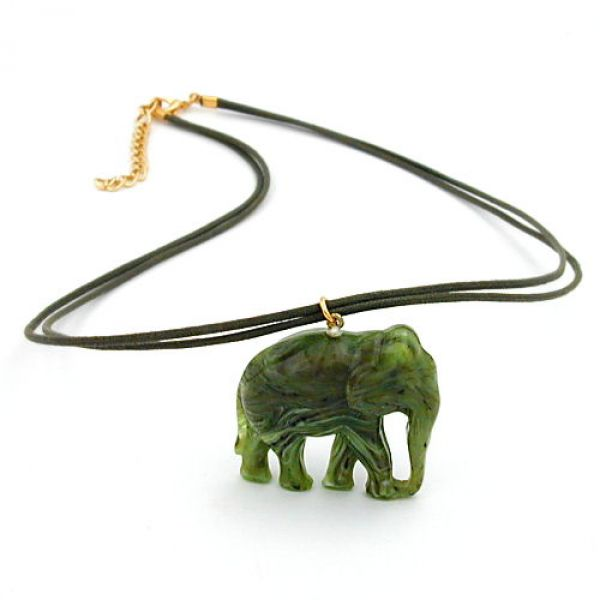 Collier, Elefant oliv-marmoriert 50cm