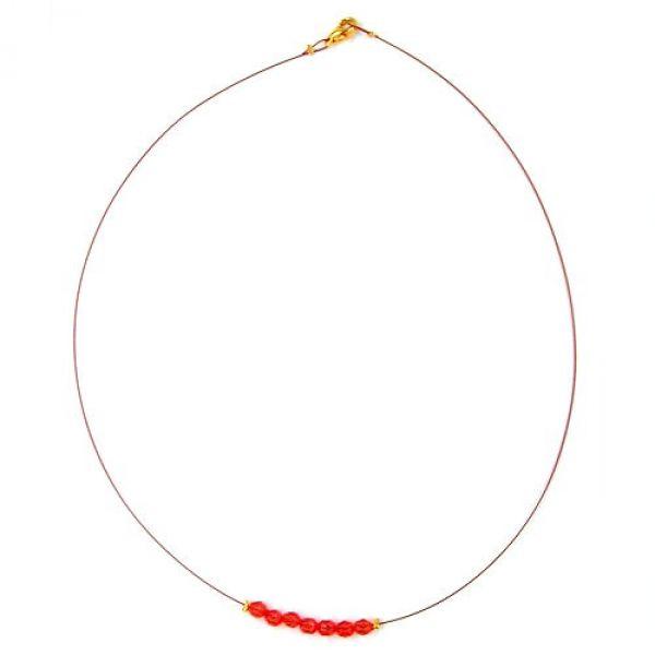 Collier, Glas, facettiert rot, Draht 40cm