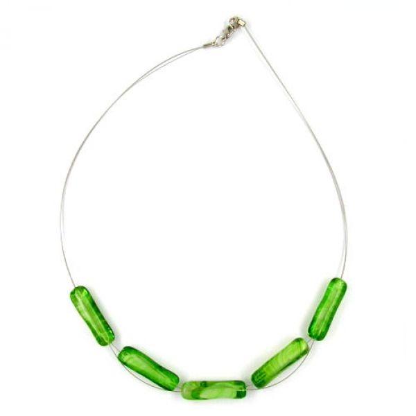 Collier, Glas-Walze grün-weiß 45cm