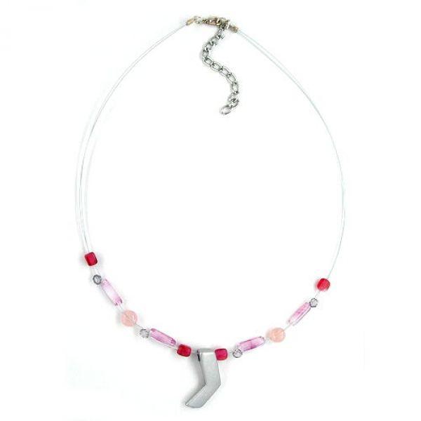 Collier, Glasperlen rosa silbergrau-matt 42cm