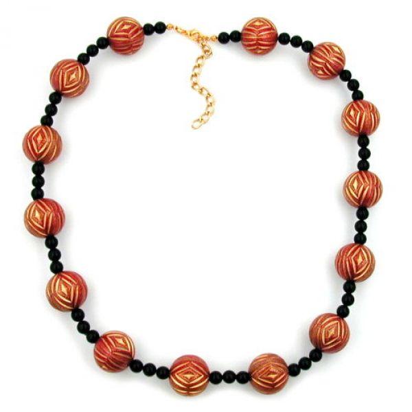 Collier, Gravurperle rot-gold, schwarz 50cm