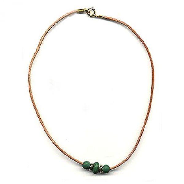 Collier, Holzperle grün, Leder natur 42cm