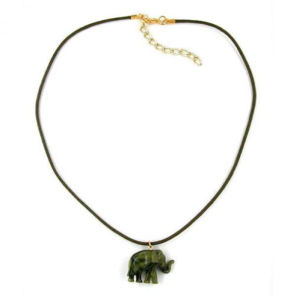 Collier, kleiner Elefant, oliv-marmor 40cm