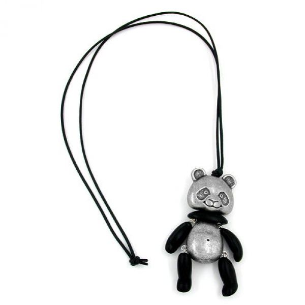 Collier, Panda, altsilber schwarz-matt 90cm