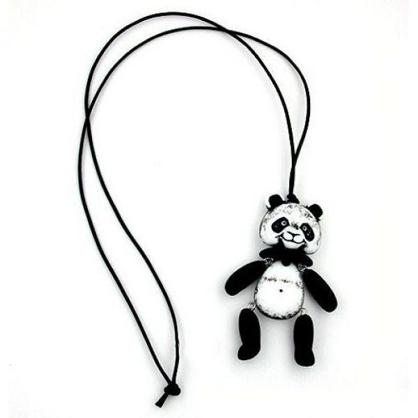 Collier, Panda, schwarz-weiß matt ca. 90cm