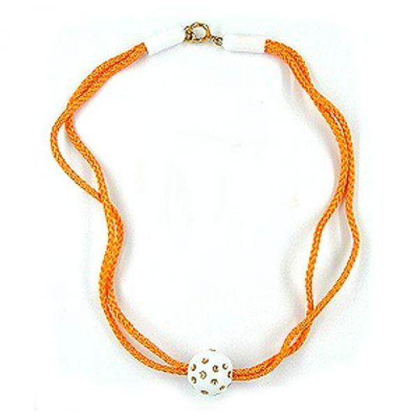 Collier, Perle weiß-gold Kordel orange 40cm