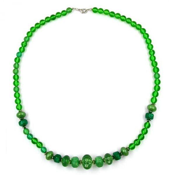 Collier, Perlen, grün-transparent 60cm