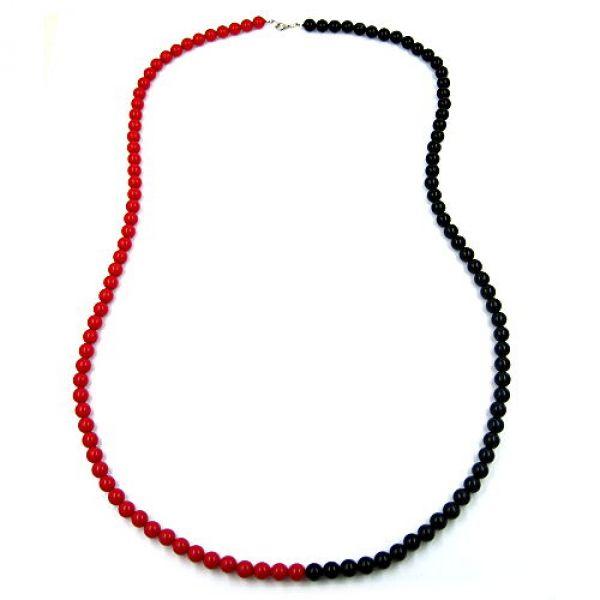 Collier, Perlen 8mm, rot-schwarz silber 90cm