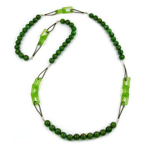 Collier, Perlen grün marmoriert, Kordel 110cm
