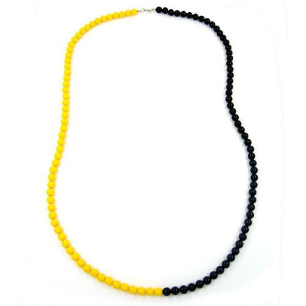 Collier, Perlenkette 8mm, gelb-schwarz 90cm