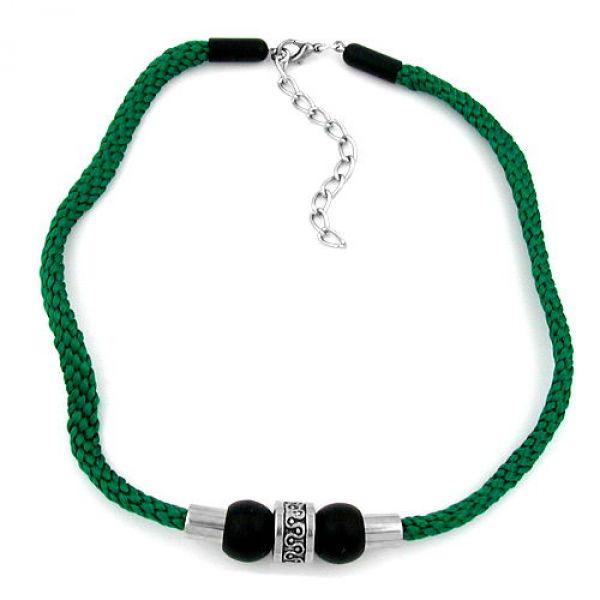 Collier, schwarz-matt-chrom, Kordel grün 45cm