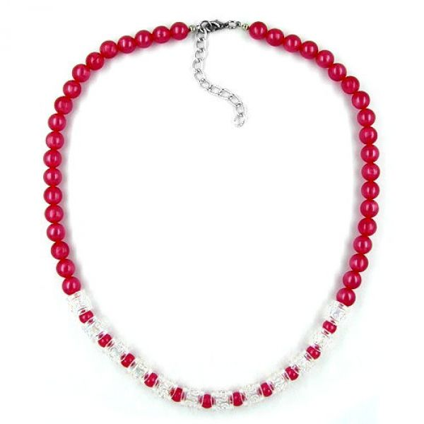 Collier, Seide rot, Walze kristal AB 45cm