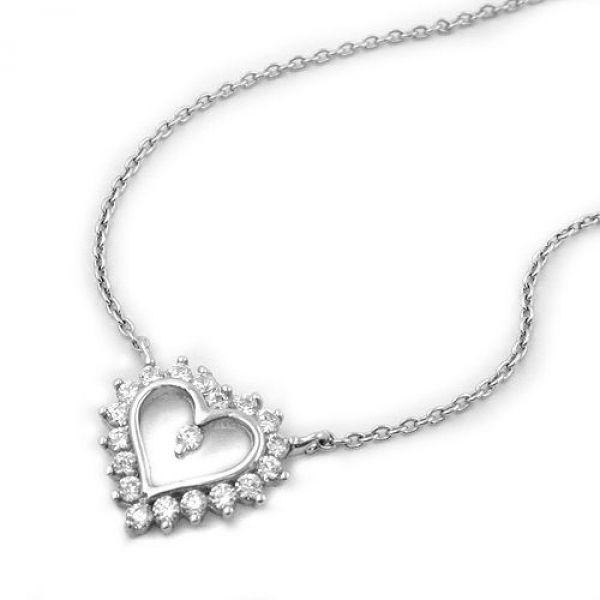 Collier mit Herz, rhodiniert, Silber 925 43cm