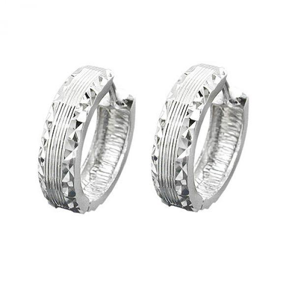 Creole, matt/diamantiert, Silber 925