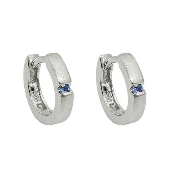 Creole kleiner Zirkonia blau, Silber 925