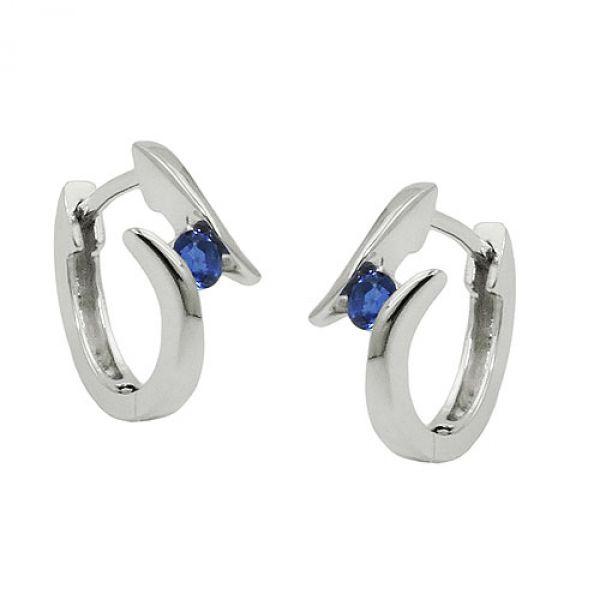 Creole, Zirkonia blau, Silber 925