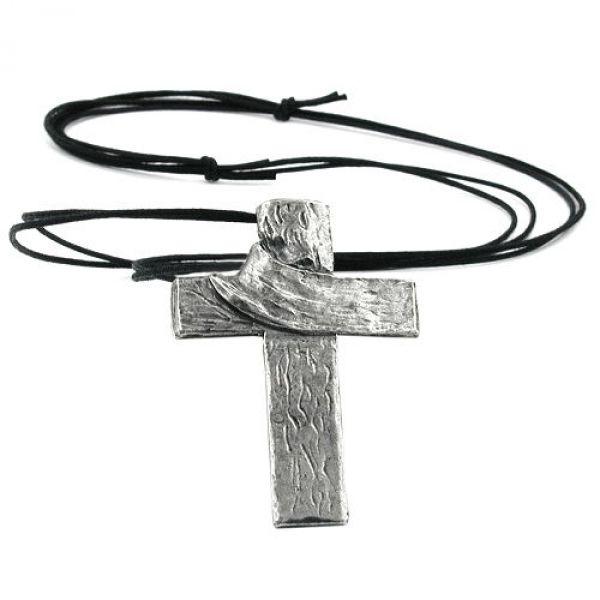 Kette, Anhänger Zinn, Kreuz mit Tuch