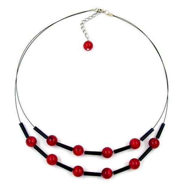 Kette, Draht, Perlen rot-schwarz