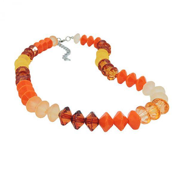 Kette, Facettenperlen orange-gelb-braun