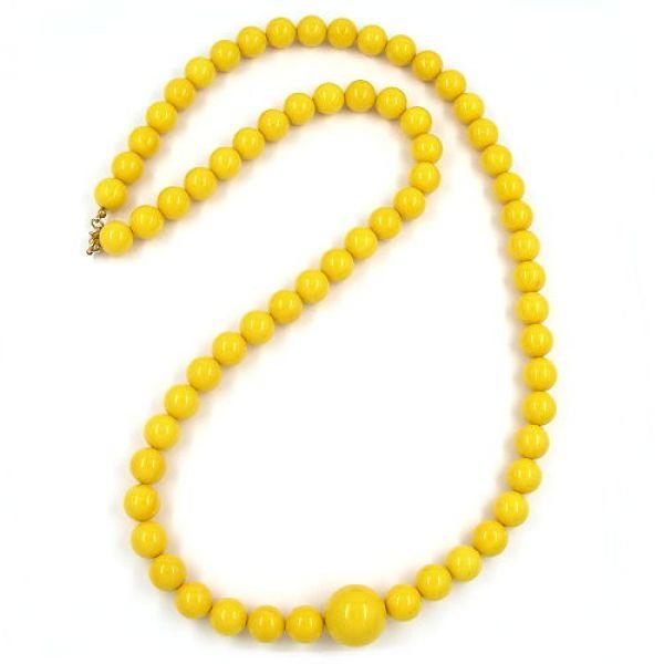 Kette, Perle 12mm gelb-glänzend