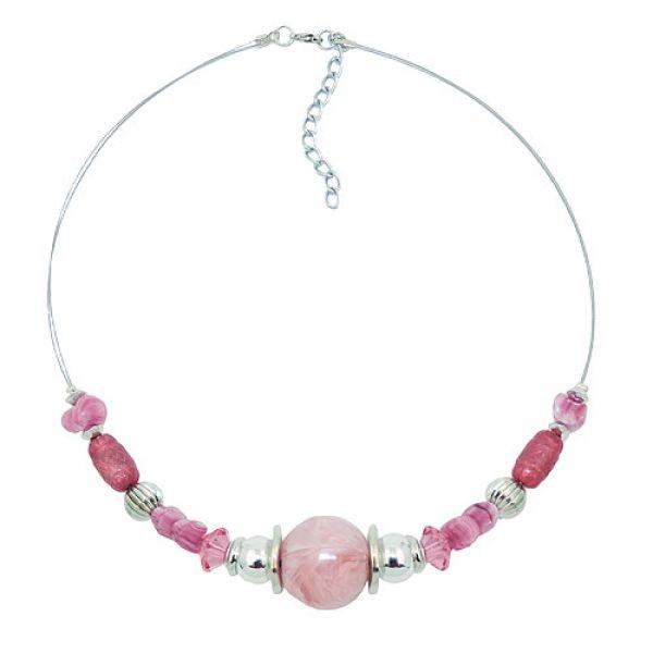 Kette, Perle rosa, altrosa, chrom, Drah