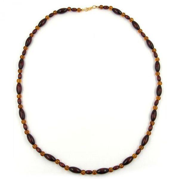 Kette, Perlen Schildpatt und Holz