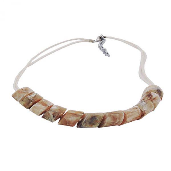Kette, Schrägperle beige-marmor, Kordel